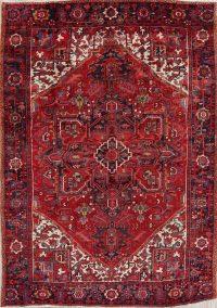 Red Geometric Heriz Serapi Persian Area Rug 8x11
