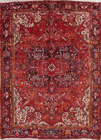 Vintage Red Geometric Heriz Persian Area Rug 8x11