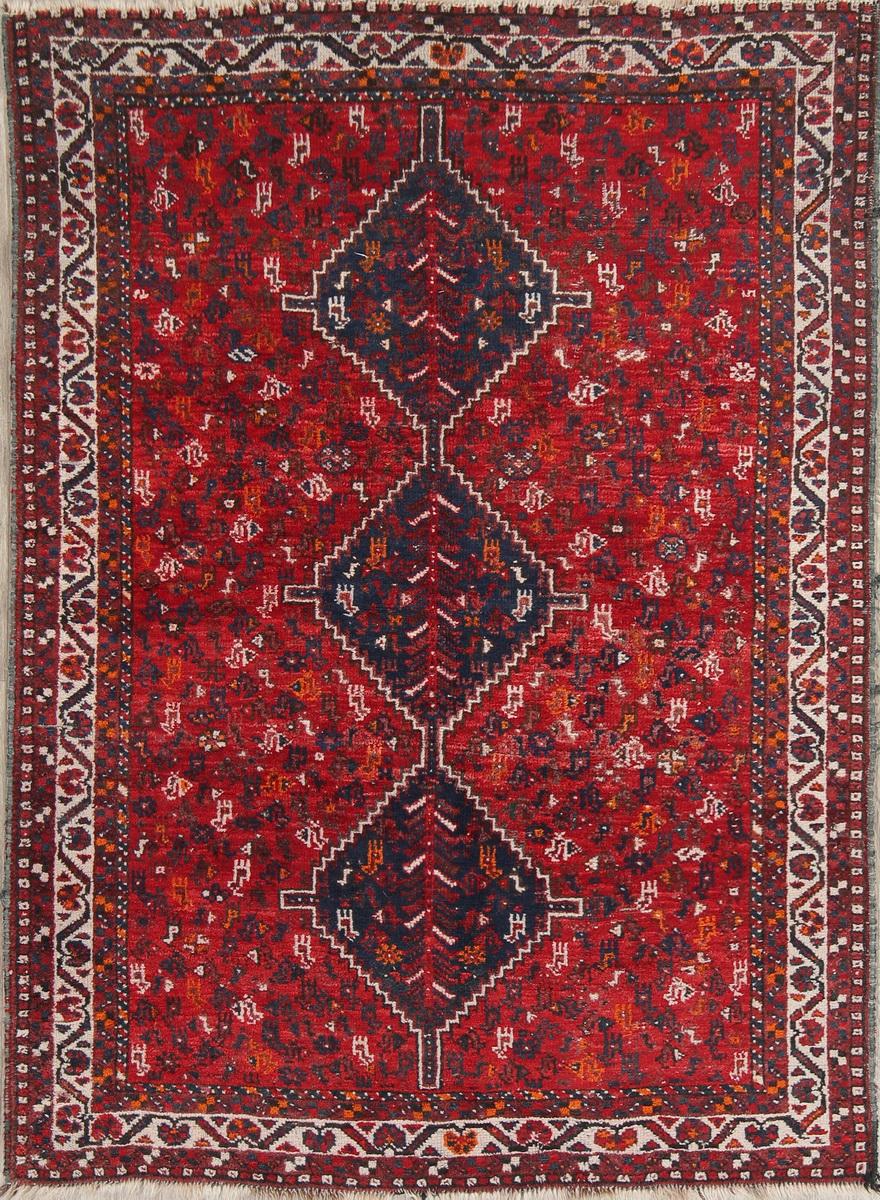 Antique Geometric Shiraz Persian Area Rug 5x7