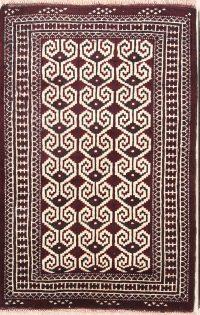 Geometric Turkoman Bokhara Persian Ivory Area Rug 3x4