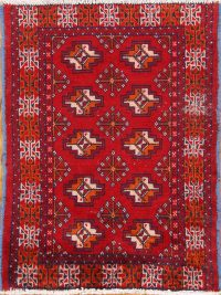 Geometric Turkoman Bokhara Persian Area Rug 2x3