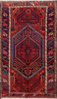 Geometric Wool Hamedan Persian Area Rug 4x7