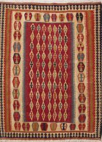 All Over Geometric Wool Kilim Qashqai Persian Area Rug 5x7