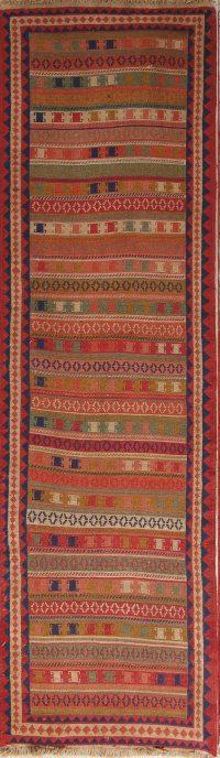 Modern Geometric Wool Kilim Sumak Persian Runner Rug 2x9