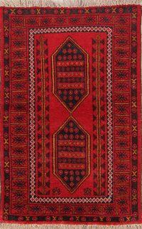 Geometric Balouch Persian Tribal Area Rug 3x5