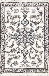 Ivory Floral Nain Persian Runner Rug 3x5