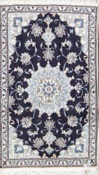 Navy Blue Floral Nain Persian Wool Rug 3x5