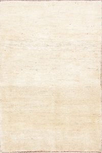 Solid Gabbeh-Shiraz Persian Modern Ivory Area Rug 3x5