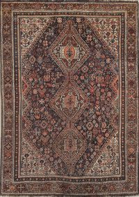 Pre-1900 Tribal Qashqai Shiraz Persian Antique Area Rug 6x9