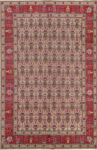All-Over Geometric Signed Tabriz Persian Area Rug 7x10