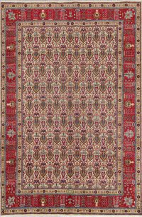 All Over Geometric Wool Tabriz Persian Area Rug 7x10