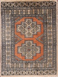 Geometric Bokhara Oriental Square Wool Rug 2x2