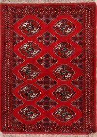 Red Geometric Balouch Bokhara Persian Wool Rug 3x5