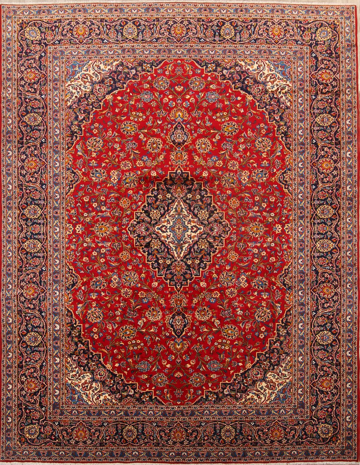 Traditional Floral Kashan Persian Red Area Rug 10x14