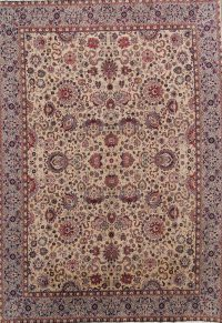 Soft Pile All-Over Isfahan Persian Ivory Area Rug 9x13