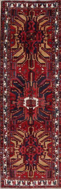 Red Geometric Gharajeh Persian Runner Rug 4x11