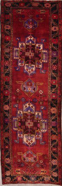 Red Geometric Tribal Heriz Persian Runner Rug 4x11
