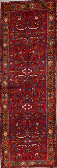 All-Over Red Floral Heriz Persian Runner Rug 4x11