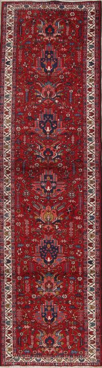 Red Geometric Gharajeh Heriz Persian Runner Rug 3x11