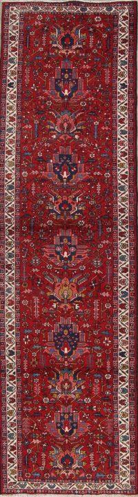 Red Geometric Gharajeh Heriz Persian Runner Rug 3x11