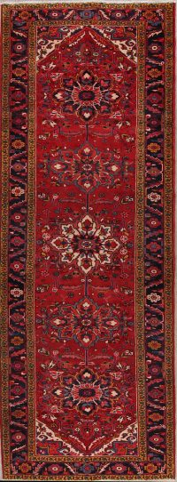 Vintage Red Heriz Persian Runner Rug 4x11