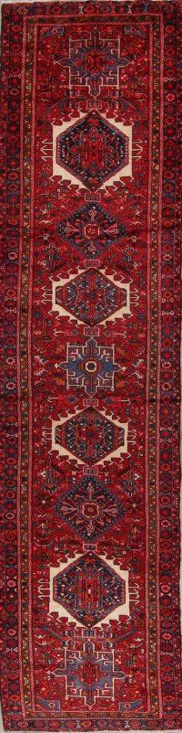 Red Geometric Gharajeh Persian Runner Rug 4x14