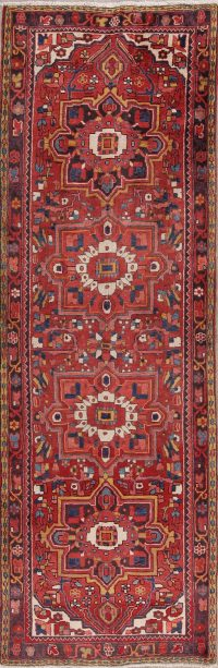 Red Floral Heriz Persian Runner Rug 4x11