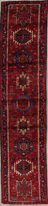 Red Tribal Geometric Gharajeh Persian Runner Rug 3x12