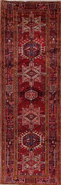 Red Tribal Geometric Heriz Persian Runner Rug 4x11