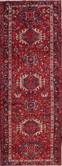 Red Tribal Geometric Gharajeh Persian Runner Rug 4x11