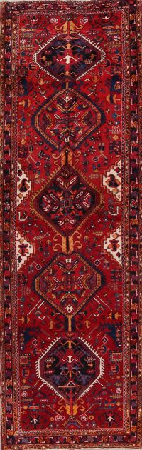 Geometric Tribal Heriz Persian Runner Rug 4x11