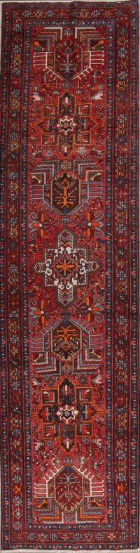 Red Tribal Geometric Heriz Persian Runner Rug 3x13