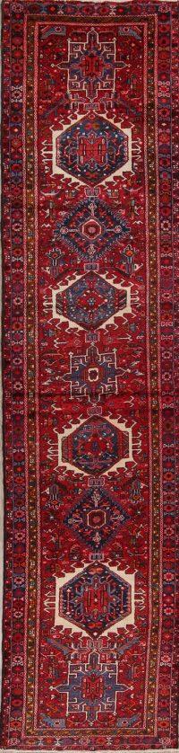 Red Tribal Geometric Gharajeh Persian Runner Rug 3x15