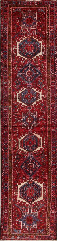 Red Tribal Geometric Gharajeh Persian Runner Rug 3x15