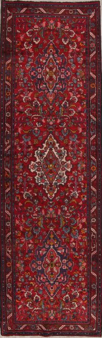 Red Floral Heriz Persian Runner Rug 3x11