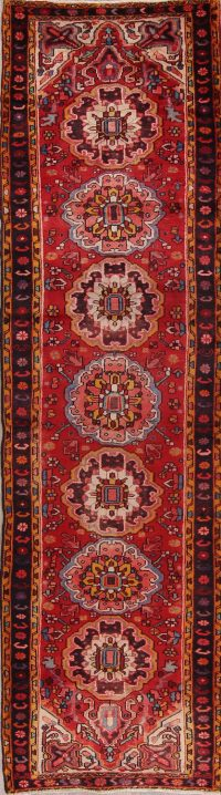 Red Floral Heriz Persian Runner Rug 3x12