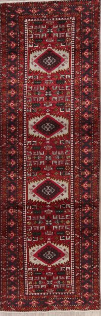 Red Tribal Geometric Heriz Persian Runner Rug 3x10