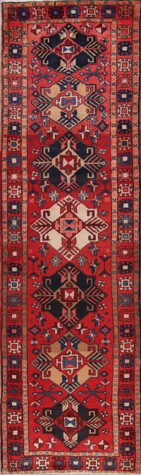 Red Tribal Geometric Goravan Persian Runner Rug 3x11
