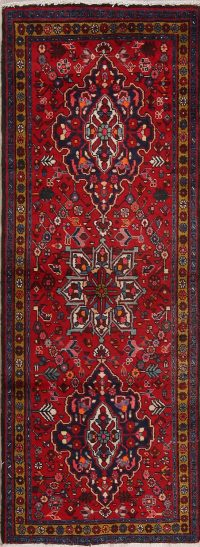 Red Floral Heriz Persian Runner Rug 3X8