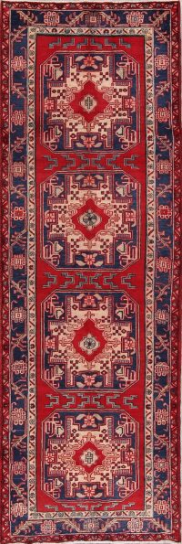 Red Geometric Ardebil Persian Runner Rug 4x11