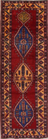 Red Tribal Geometric Heriz Persian Runner Rug 3x11