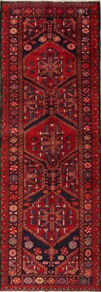 Red Tribal Geometric Heriz Persian Runner Rug 4x10