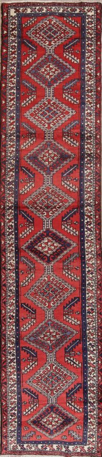 Red Tribal Geometric Ardebil Persian Runner Rug 3x13