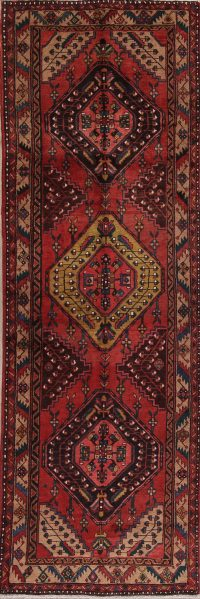 Tribal Geometric Heriz Persian Runner Rug 4x11
