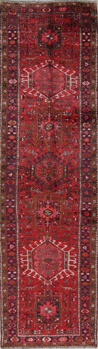 Red Geometric Gharajeh Persian Runner Rug 3x12