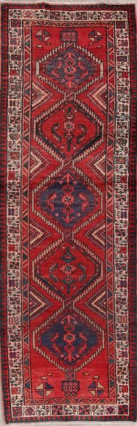 Red Geometric Meshkin Persian Runner Rug 3x10