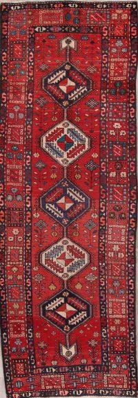 Red Geometric Heriz Persian Runner Rug 4x10