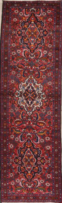 Red Floral Heriz Persian Runner Rug 3x10
