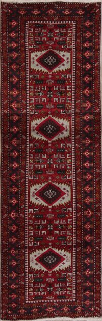 Red Geometric Heriz Persian Runner Rug 3x10