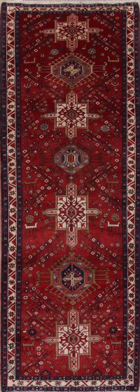 Red Geometric Goravan Persian Runner Rug 4x10